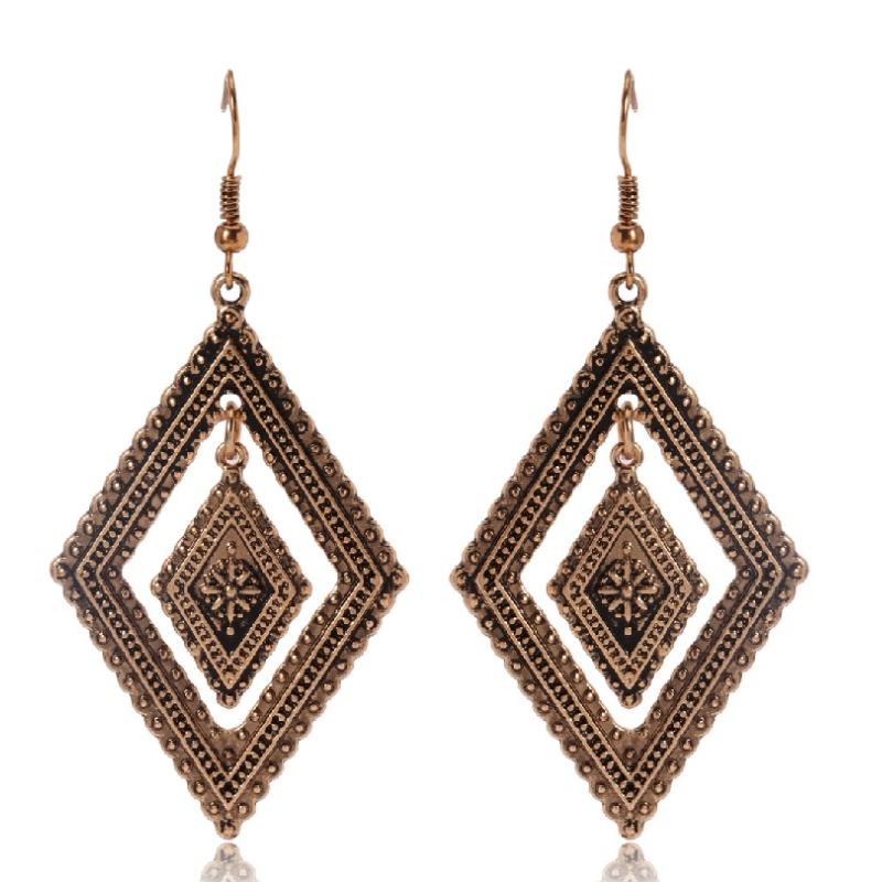 Retro Bohemian Boho Style Women Ethnic Flowers Hook Dangle Earrings Jewelry Gift