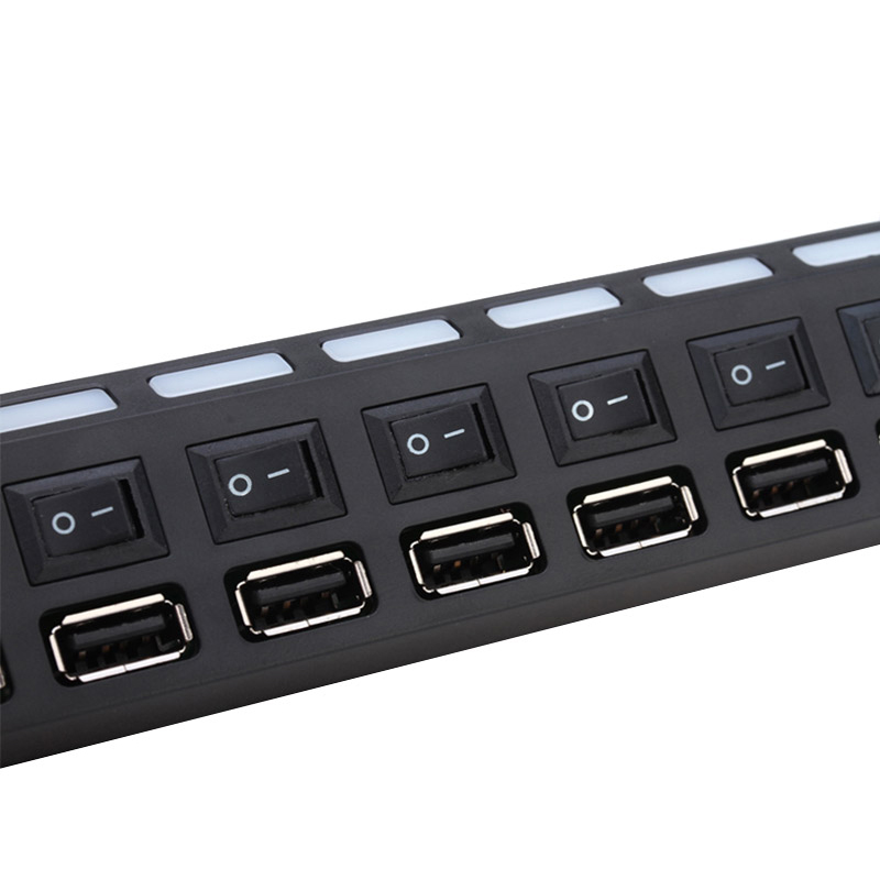 7-Port-Interface-USB-2-0-Hub-High-Speed-Adapter-ON-OFF-Switch-LED-Indicator-PC