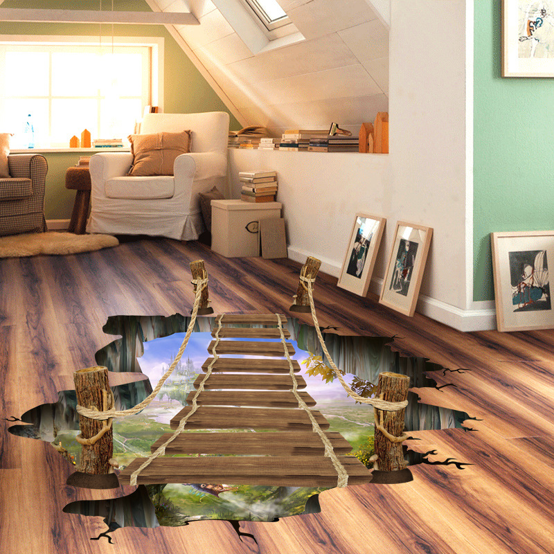 1pcs 3d bridge floor wall sticker removable mural decals for 3d wall for home