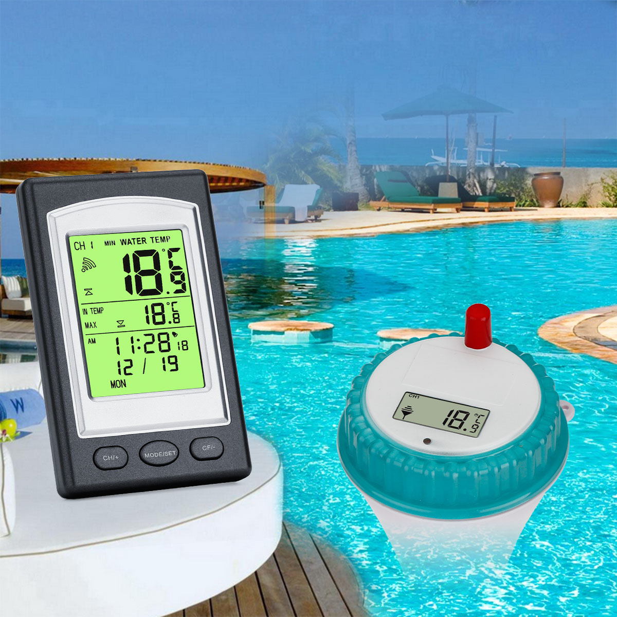 Wireless Digital Floating Swimming Pool Thermometer